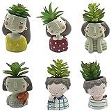 6 PCS Set Cute Flower Girls and Curly Hair Boys Shaped Succulent Cactus Flower Pot/Plant Pots/Planter/Container for Home Garden Office Desktop Decoration (Plants Not Included)