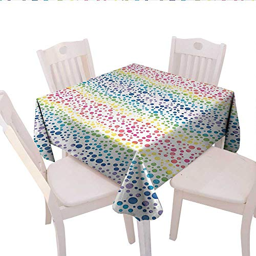 Modern Square Tablecloth Rainbow Colored Ombre Bubbles and Rounds Circles in Wavy Shape Line Art Print Image Farmhouse Tablecloth 50