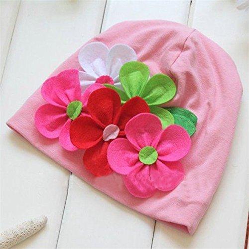 3M-4Y Nice Kids Baby Girls Lovely Headwear Big 3D Flower Beanies Cap Hats Photo Dress