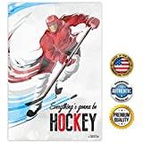 ZENDORI POSTER ART 'Everything's gonna be HOCKEY' (Red/Blue) Inspirational Sports Art Made in USA - 12 x 18 (Red) offers
