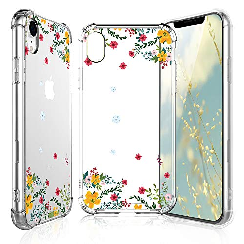 TJS iPhone XR Case with Tempered Glass Screen Protector, Clear Flower Pattern Design Ultra-Thin Transparent Girls and Women Floral TPU Cover for Apple iPhone XR (6.1-Inch) – Winter Jasmine