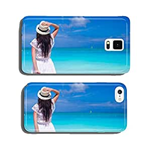 Young beautiful girl with luggage during beach vacation cell phone cover case Samsung S5