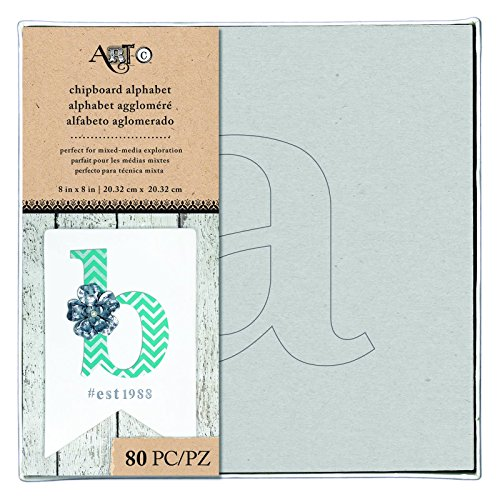 Art-C 28934 Lowercase Alphabet & Stencil Chipboard Alphabet Box
