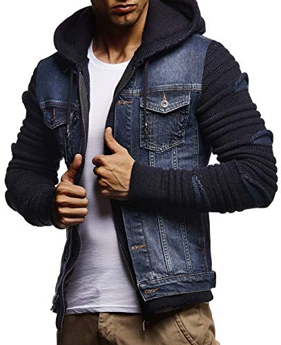 LEIF NELSON Men's Denim Jacket With Knitted Sleeves | Jeans Sweater Jacket With Hood| LN5755; Large, Blue (Knitted Sweater With Hood)
