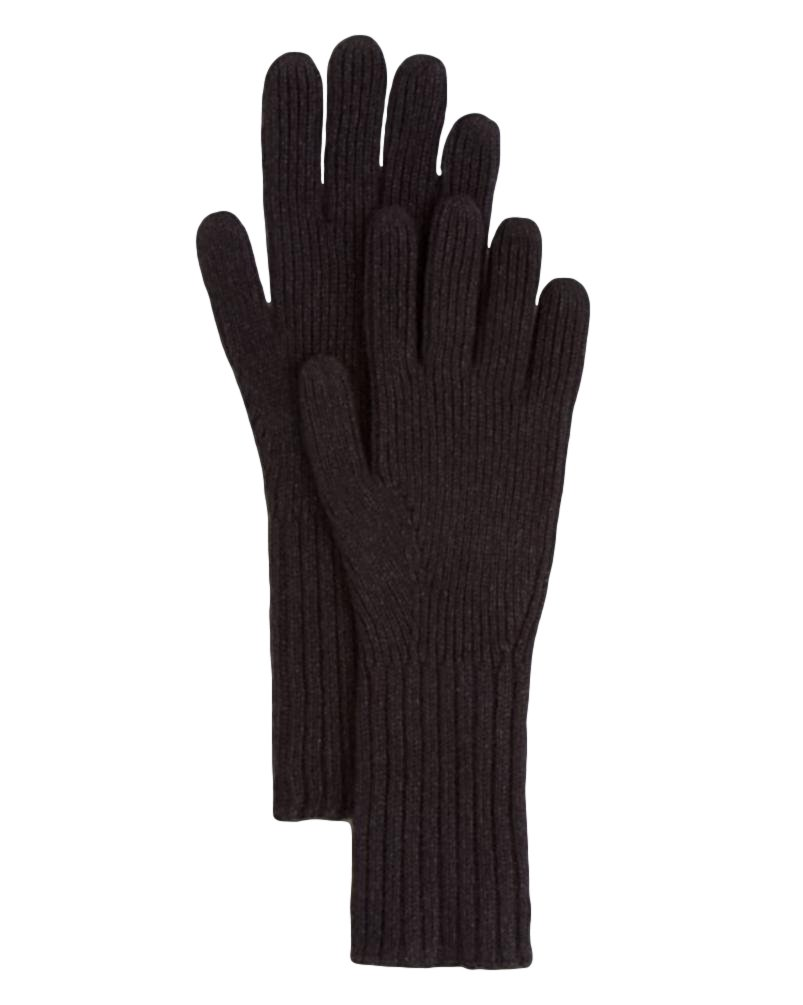 Burberry London Men's Black Cashmere Rib Knit Gloves