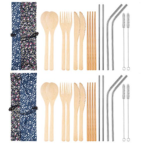 4 Set Bamboo Travel Utensils Reusable Bamboo Cutlery Flatware Set Include Fork Spoon Knife Chopsticks Metal Straws Brush with Carrying Bag (4 Set)