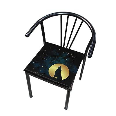 Bardic FICOO Home Patio Chair Cushion Galaxy Wolf Full Moon Square Cushion Non-Slip Memory Foam Outdoor Seat Cushion, 16x16 Inch: Home & Kitchen