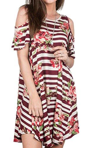 Les Femmes Domple Manches Courtes Occasionnels Épaule Froid Floral Sexy Bouffante Mini Robe Rouge Vin