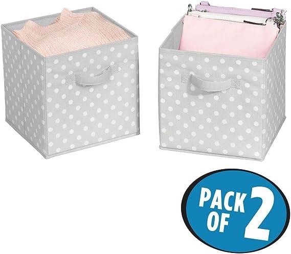 mDesign Juego de 2 cajas organizadoras pequeñas para ordenar armarios – Organizadores de armarios a lunares para dormitorio, vestidor o pasillo – Cajas para guardar ropa, juguetes y más – gris/blanco: Amazon.es: Hogar