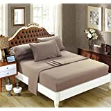 DelbouTree Solid Microfiber Bed Sheet Sets,Deep Pocket Queen 4 Pieces,Taupe