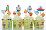 BeBeFun Cupcake Baking Cups & Decoration Toppers & Pix Space Robots Theme for Kids Birthday Party Supplies and Special Events Supplies 24 Sets in Pack.