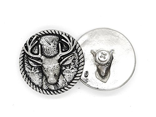 CRAFTMEmore 2PCS 1-3/8 inches Deer Moose Animal Screw Back Conchos Gaur Rodeo Indian Cowboy Leathercraft Embellishment Buttons CHS18 (Silver)