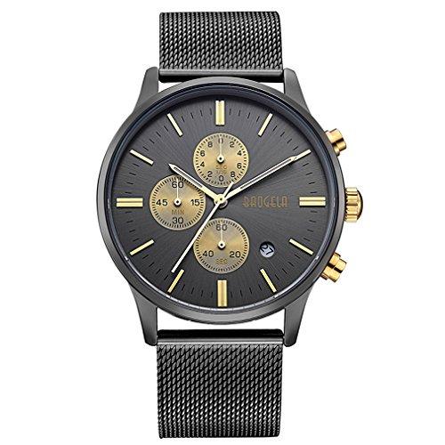 Men Quartz Watch 1611 Stainless Steel Calender Alloy Business Formal Wrist Watch for Man Black Gold