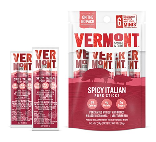 Vermont Smoke & Cure Mini Meat Stick Go Pack, Pork, Antibiotic Free, Gluten Free, Spicy Italian, .5oz Sticks, 6 Count