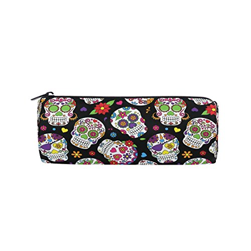 KUWT Pencil Bag Day of The Dead Floral Sugar Skull, Pencil Case Pen Zipper Bag Pouch Holder Makeup Brush Bag for School Work Office -