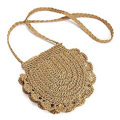 Straw Crossbody Bag, JOSEKO Women Weave Rattan Shoulder Bag Summer Beach Round Wicker Purse for Travel Everyday Use Size: 16cmx20cm