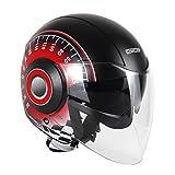 Homyl Motorcycle Motorcross 3/4 Open Face Half Helmet with Full Face Shield Visor - Type 5