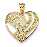 Roy Rose Jewelry 14k Yellow Gold Polished Diamond Cut Heart Pendant