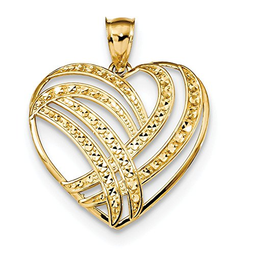 Roy Rose Jewelry 14k Yellow Gold Polished Diamond Cut Heart Pendant by Roy Rose Jewelry