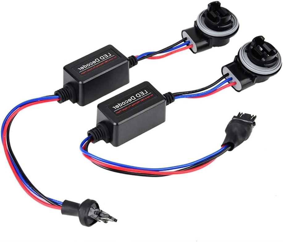 Terisass 2 Pcs 3157 Anti-Flicker Decoder Wiring Error Free Decoder ABS LED Headlight Decoder Device
