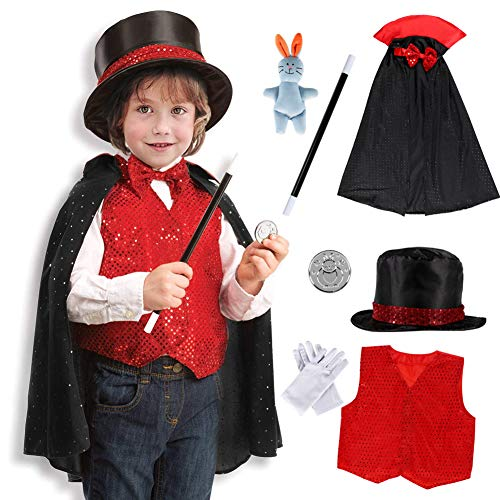 Dissytoys Magician Costume Kids Role Play Costume Magician Fancy Dress Accessories Set for 3 4 5 6 Year Old Kids Toddlers Boys Girls -