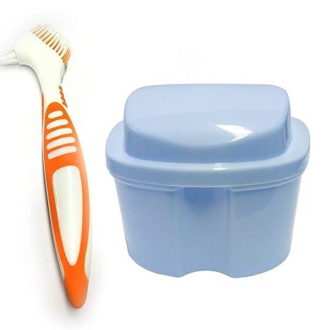 ZJW Estuche para Dentadura, Caja para Baño de Dentadura para Taza de Dentadura con Cepillo