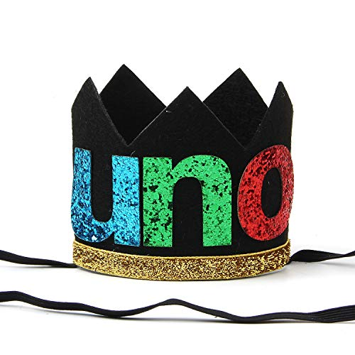 Baby Boy's First Birthday Party Hat, Uno Birthday Hat, One 1st Gold Glitter Crown Hat, 1st Birthday Decorations Supplies, Baby Shower Photo Prop (Black)]()