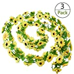 Yesier-3-Pack-Plastic-Artificial-Sunflowers-Hanging-Vine-String-Plant-Fake-Silk-Home-Party-Wedding-Yellow-Sunflowers