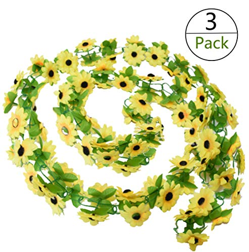 Yesier 3 Pack Plastic Artificial Sunflowers Hanging Vine String Plant Fake  Silk Home Party Wedding (Yellow Sunflowers)
