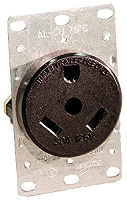 Leviton 7313 30 Amp, 125 Volt, NEMA Tt-30R, 2P, 3W, Flush Mounting Receptacle, Straight Blade, Industrial Grade, Grounding, For Recreational Vehicles, Side Wired, Steel Strap, Black