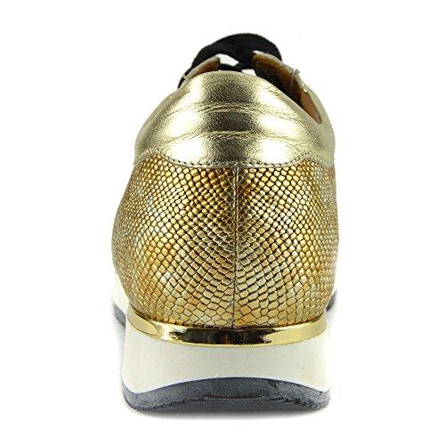 Nero Scarpe Donna Ginnastica Oro Oro Da Casual Metallizzato CityStyle4You Pizzo Scarpe Sport In Pelle XZ7nwd