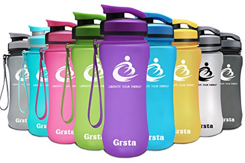 Grsta Sport Water Bottle 20oz(600ml), Wide Mouth Leak Proof BPA Free Eco-Friendly Plastic Drink Best Water Bottles for Outdoor/Running/Camping/Gym w Flip Top Lid & Filter Open with 1-Click(Purple)