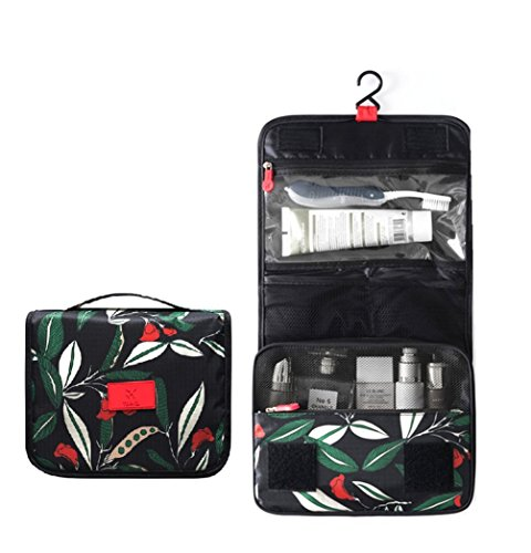 Portable Waterproof Travel Makeup Bag - Lady Color Foldable Organizer Travel Cosmetic Toiletry Bathroom Beach Bag for Women/Men, Shaving Kit with Hanging Hook for vacation (Moonlight Flower)