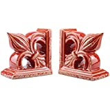 Stonebriar SB-4750A Distressed Red Fleur De Lis Ceramic Bookend Set