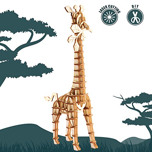 Rolife 3D Wooden Puzzle Wild Animal Toy-DIY Tiny Model Kit-Animal Action Figure-Assembly Jigsaw Puzzle-Home Decoration-Unique Birthday/Easter Day Gift for Daughter/Niece/Women/Girls/Boys(Giraffe)