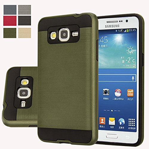 Galaxy Grand 2 G7106 Case, Aomax Anti-Shock Brushed Metal Texture case, Dual Layer Protection TPU & PC Hybrid Non-slip Protective Case For Samsung Galaxy Grand 2 G7102 G7105 G7106 (VLS Army Green)