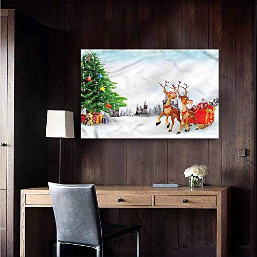 Gabriesl Stickers Wall Murals Decals Removable Santa Snowy Village Sleigh Tree Bedroom Bedside Wall Size : W20 x H16