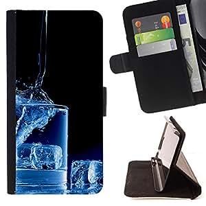 BullDog Case - FOR/HTC One M8 / - / blue ice cold drink cocktail blue black /- Monedero de cuero de la PU Llevar cubierta de la caja con el ID Credit Card Slots Flip funda de cuer
