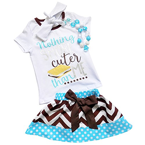 So Sydney Girls Toddler 2 Pc Novelty Summer Shorts Or Skirt Outfit & Accessory (L (5), Smore (Capri Outfit Set)