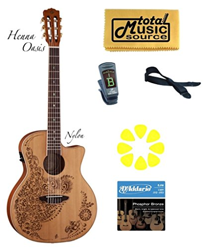 Luna Guitars Henna Oasis - LUNA Henna Oasis Nylon Acoustic Electric Guitar Pack, HEN O2 NYL PACK