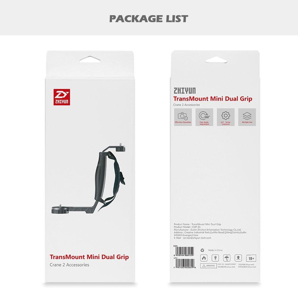 Zhiyun Crane 2 Mini Dual Grip with Three 1//4 Screw Holes and Wrist Strap for Zhiyun Crane 2 Crane Plus Crane M and Other Handheld Gimbal Which Has 1//4 Screw