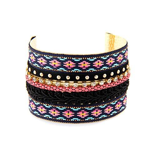 Joji Boutique Colorful Bejeweled Multi-Ribbon Cuff
