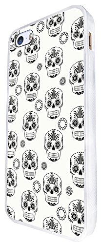 1552 - Cool Trendy Fun Candy Mexican Sugar Skull Tattoo Art Design iphone SE - 2016 Coque Fashion Trend Case Coque Protection Cover plastique et métal - Blanc