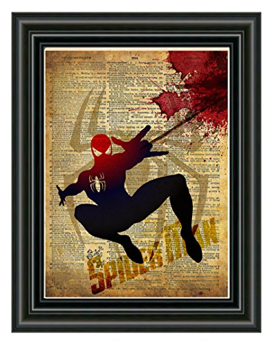 Spider Man art, splatter art, superhero decor,cool pop art, vintage dictionary art print