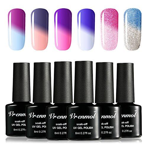 Vrenmol Gel Nail Polish Set, Soak Off UV LED Temperature Color Changing Chameleon Nail Polish Kit 6 Colors 8ml