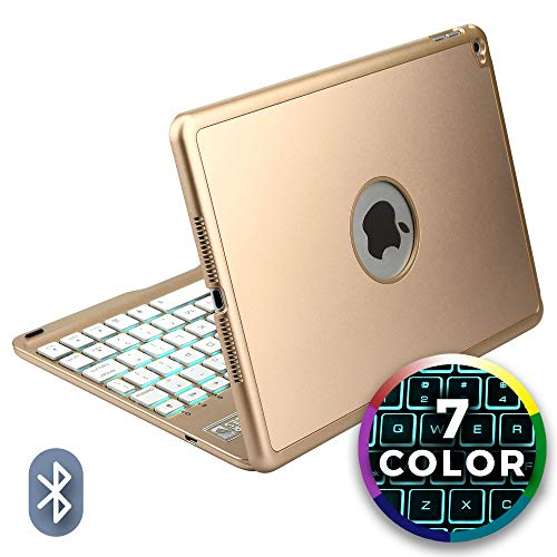 Cooper Notekee F8S Keyboard Case for Apple iPad Air 2 A1566 A1567 | 7 Color LED Backlight, 60HR Battery, 15 Hotkeys, Sleep/Wake (Gold)