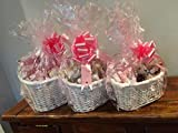 Make Your Own Maternity Hamper Kit, WHITE Oval High back Willow Basket Baby Girl Pink which includes Bow & Cellophane Small, Medium Or Large, Gift, Leaving Present, Baby Showers (WHITE LARGE OVAL HAMPER / BABY PINK)