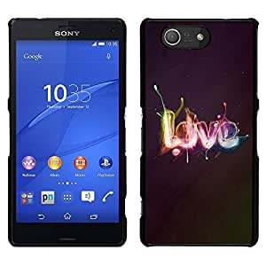 // PHONE CASE GIFT // Duro Estuche protector PC Cáscara Plástico Carcasa Funda Hard Protective Case for Sony Xperia Z3 Compact / Effects LOVE /