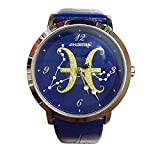 Twelve Constellations Unisex Fashion Quartz Watch With Leather Watchband Wrist Watch For Man And Woman (Blue-Pisces)