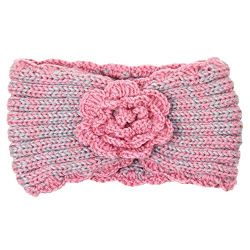 Wrap Hair Accessory (Me Plus Women's Winter Knitted Headband Ear Warmer Head Wrap (3 Styles Flower/Twisted/Checkered) (Flower-Pink))
